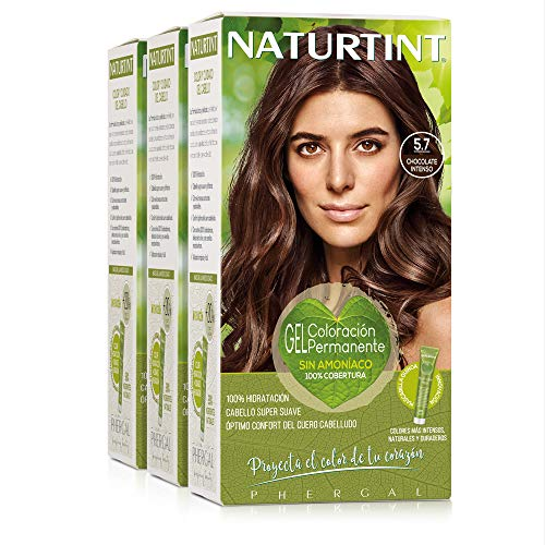 Naturtint Coloración 5.7 Chocolate Claro, 100% Cobertura de canas y Hidratación, Ingredientes Vegetales y Aceites 100% Biobotánicos, Color Natural y Duradero, Sin Amoniaco, Pack de 3.