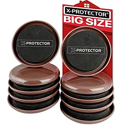 Furniture Sliders for Carpet X-PROTECTOR – Best 8-Pack 4 3/4 inch Heavy Moving Pads - Sliders for Furniture. Move Your Furniture Easy with Reusable Furniture Movers Sliders for Carpets!