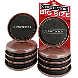 powerful X-PROTECTOR Carpet Furniture Slider – Best 8 Pack 4 3/4 inch High Performance Movable Cushion – Slider…