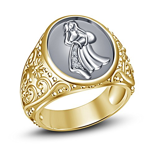 Moda Vorra 14 K chapado oro sólido 925 plata esterlina Anillo de los hombres - zodiaco CZ anillo de zodiaco acuario