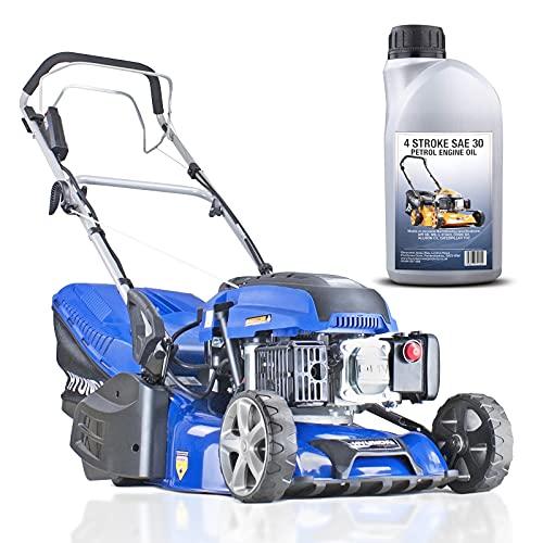 Hyundai 43cm Petrol Roller Lined Electric Start Lawnmower Self Propelled Lawn Mower 139cc, 430mm Cutting width large 45 Litre Grass Bag Oil Included, 3 Year Warranty, HYM430SPER