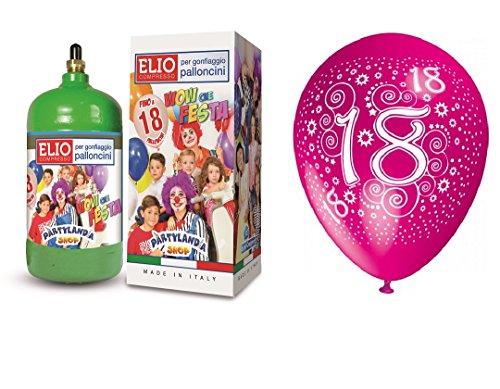 Flasche Helium Gas 0,145 m3 + 12 fliegende Luftballons 18 Geburtstag 18 Jahre volljährig