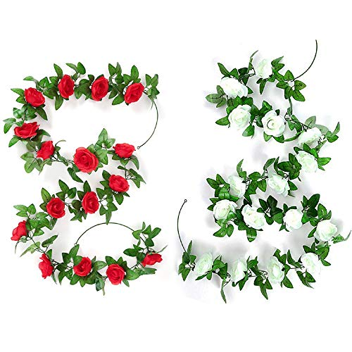 Yue Qin 2 Piezas Guirnalda de Rosas Artificiales Flores Colgantes Guirnalda,de Seda Roja Rosas Falsas para la Decoración de La Pared de La Boda al Aire Libre Badroom(Rojo,Blanco)