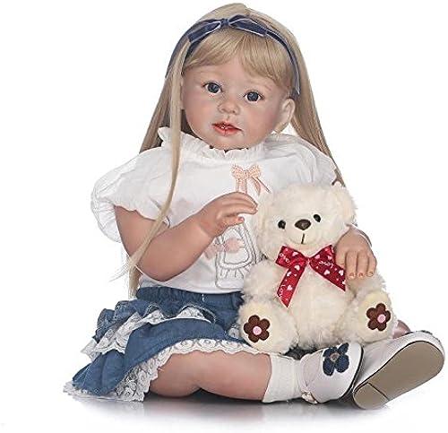 QXMEI Simulation Reborn Babypuppe 28 Zoll   70cm Gliedmaßen Silikon Tuch mädchen Langes Haar Spielzeug Geschenk