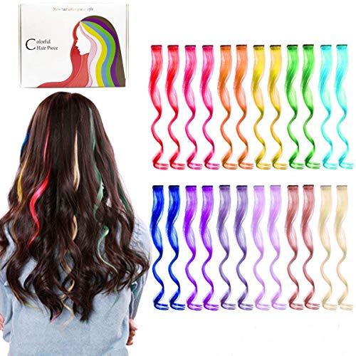 Kyerivs Farbiger Haarverlängerungs Clip Regenbogen Farbe Gerade Synthetisch Haarteil für Mädchen und Kinder Strähnchen Clip Curly Perücken 12 Farben in 24 pcs(Lockig)
