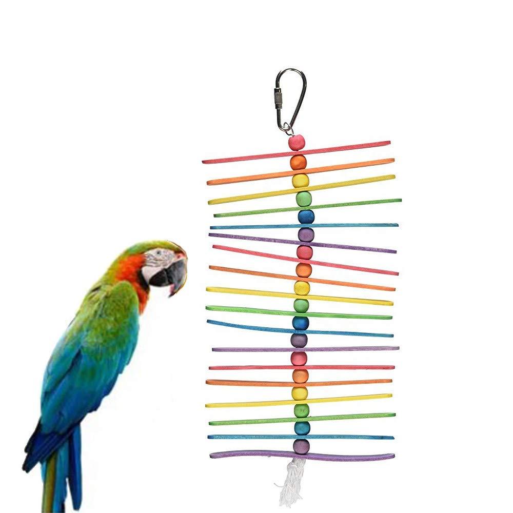 Lomsarsh Nuevo Bird Toys Peque/ño Loro Que cuelga el Juguete de Rasgado y palitos de Palomitas Bird Toy para Mascotas