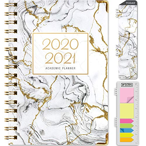 HARDCOVER Academic Year 2020-2021 Planner: (June 2020 Through July 2021) 5.5'x8' Daily Weekly Monthly Planner Yearly Agenda. Bonus Bookmark, Pocket Folder and Sticky Note Set (Grey & Gold Marble)