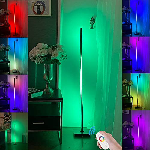 Intelligente RGB-Stehlampe, weiße moderne LED-Stehlampe Hintergrundbeleuchtung, Minimalismus Farbwechsel LED Dimmbare Taschenlampe, Schwarz, 20 W Cool für Wohnzimmer, Schlafzimmer und Spielzimmer DIY