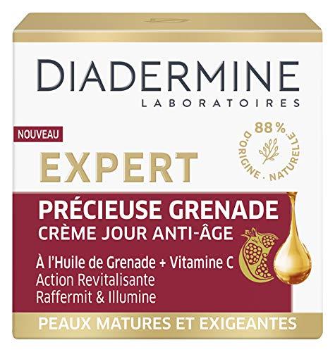 Diadermine - Expert - Précieuse Grenade - Crème Visage de Jour Anti-Âge - Régénère et Fortifie - Formule à l'huile de Grenade et Vitamine C - 88 % d'ingrédients d'origine naturelle – Pot de 50 ml