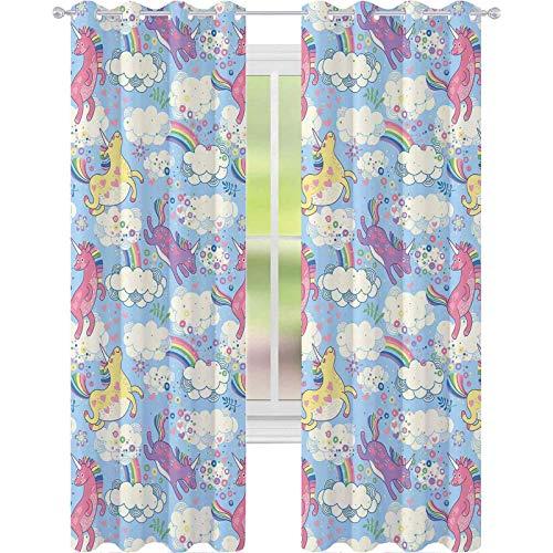 Cortinas de tratamientos para ventanas, lindos unicornios en el cielo con arco iris vertiendo desde la nube a la nube, 2 paneles de ancho 52 x 72 cortinas para dormitorio, multicolor