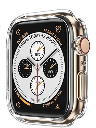 AVANA Etui do Apple Watch Series 6/5/4/SE 40 mm etui ochronne ochrona wyświetlacza cienki, miękki silikon TPU osłona iWatch Cover ochrona Clear Slim Case Bumper - przezroczyste