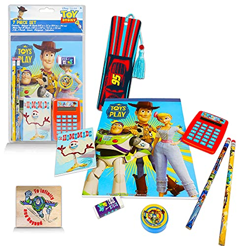 Disney Pixar Toy Story 4 School Supplies Value Pack -- 7 Pc Toy Story Stationery Set (2 Folders, Notebook, Pencils, Eraser and More)