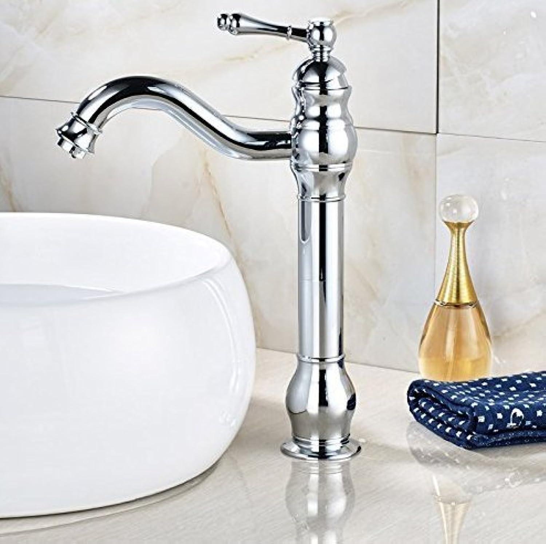 Washbasin Mixer Tap Basin Faucet Chrome Bathroom Faucet Deck Mounted Bathroom Faucet Mixer Tap Single Handle Hole Spout Rinse Battery, Bronze,