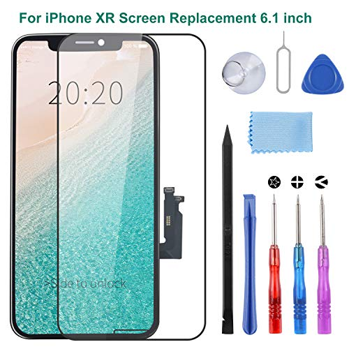 Compatible for iPhone XR Screen Replacement, LCD Digitizer Screen Replacement 6.1 Inch with Complete Repair Tool Kit, Tempered Glass, Repair Flowchart, Magnetic Screws Map