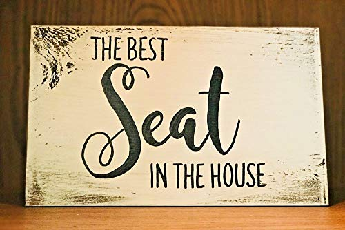PotteLove Rustic Wood Sign The Best Seat in House Bathroom Farmhouse Decor Funny Toilet