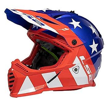 LS2 Helmets Gate Stripes Full Face Helmet  Red/Gloss White/Blue - Medium