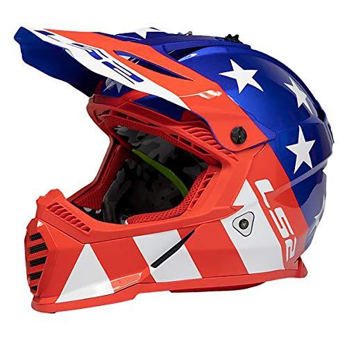 LS2 Helmets Gate Stripes Full Face Helmet (Red/Gloss White/Blue - X-Large)
