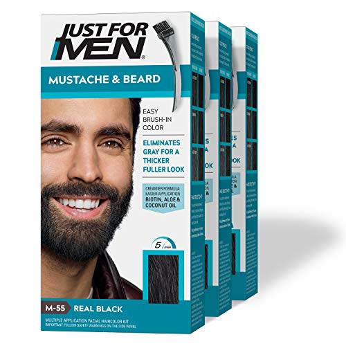 Just For Men Mustache & Beard, Beard Coloring for Gray Hair with Brush Included - Color: Real Black, M-55 (Pack of 3)