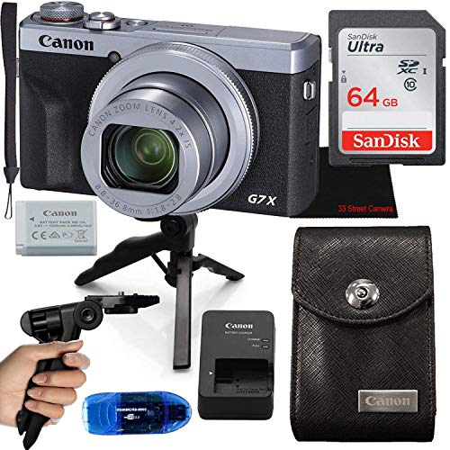 Canon PowerShot G7 X Mark III Digital Camera (Silver) 4.2X Optical Zoom + Canon Camera Pouch + 64GB SDXC Card + Accessory Bundle
