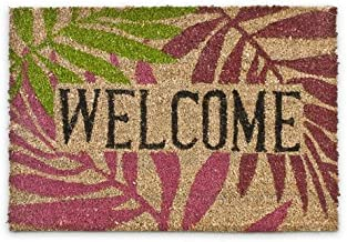 Relaxdays Coconut Fibre Palm Leaves Doormat 40 x 60 cm Coir Welcome Mat with No-Slip Rubber PVC Underside, Multicolour