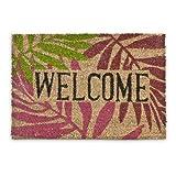Relaxdays – Felpudo Welcome con un diseño Tropical para la Entrada de su hogar Hecho de Fibras de Coco y PVC con Medidas 40 x 60 cm Antideslizante Elemento Decorativo, Color Natural