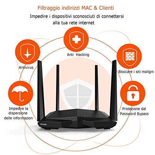 Tenda AC6 Router Wi-Fi AC1200 Dualband 300 Mbps 2.4 GHz e 867 Mbps 5 GHz, 4 5dBi Antenne, Parental Control e Rete Ospiti, VPN, IPv6, Adatto per Case a Un Piano