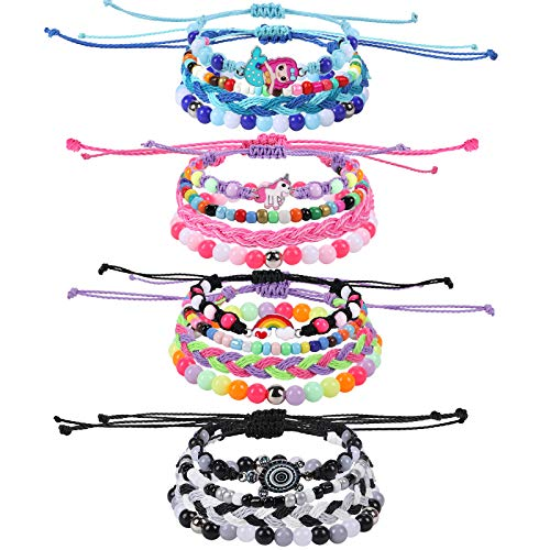 Tacobear 16pcs Kids Friendship Bracelets for Girls Handmade Braided Bracelet Unicorn Mermaid Tortoise Rainbow Bracelet Set Bead Rope Woven Bracelets Gifts for Children