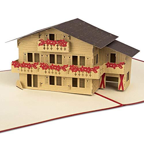 """PaperCrush® kartka pop-up """"Almhütte"""" [NOWOŚĆ!] – kartka 3D z życzeniami do budowy domu, zakupu domu lub domu – specjalna kartka bonowa do hotelu, bonu hotelowego z kopertą"""