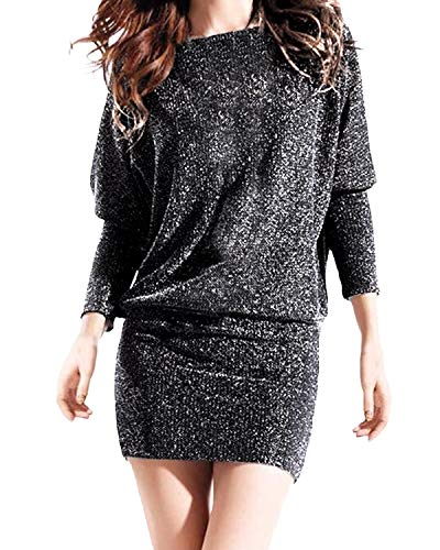 Auxo Damen Schulterfrei Kleid Langarmshirt Ballkleid Pailletten Partykleid Club Kurz Bodycon Minikleid Splitter Medium