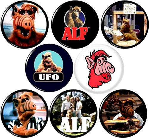 """ALF Set of 8 New 1"""" inch (25 mm) Button pin Badge Alien Life Form tv Show"""