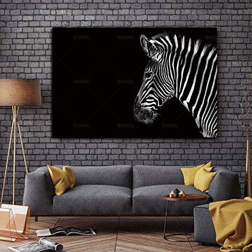 ganlanshu Tiere auf Leinwand für Hauptdekoration Schwarzweiss-Wandkunst schwarzer Zebra-Avatar-Hintergrundmalerei Bild rahmenlose Malerei 40cmX60cm