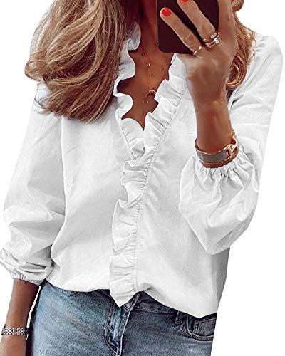 Yidarton Bluse Damen Langarm Oberteil Casual Rüschen Vorne V-Ausschnitt Tops Shirt...