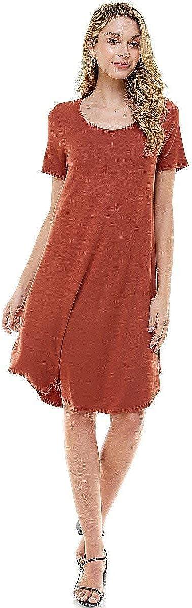 12 Ami Plain Short Sleeve Loose Swing Casual Midi Dress - Made in USA