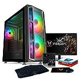 Fierce Spiker RGB Gaming PC - 3.9GHz Quad-Core AMD Ryzen 3 3100, 240GB SSD, 1TB HDD, 16GB, NVIDIA GeForce RTX 2060 6GB, Win 10, Tastiera (QWERTY), Mouse, 24 pollici Monitor, Altoparlanti 1117587
