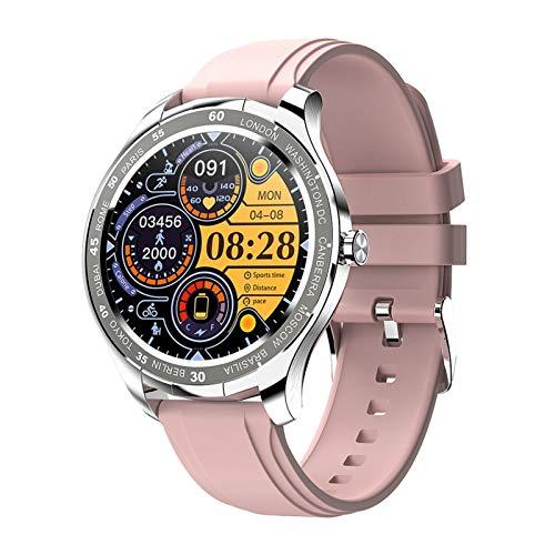 YNLRY Nuevo T50 Smart Watch Hombres Pantalla Táctil Completa Deportes a Prueba De Agua SmartWatch Women Fitness Reloj para Android iOS Teléfono (Color : Pink Silicone Strap)