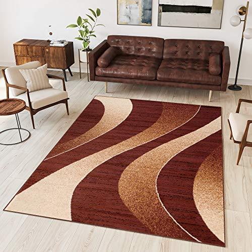 Tapiso Dream Alfombra de Salón Dormitorio Sala Diseño Moderno Marrón Beige Ondas Moteada Pelo Corto Fina 140 x 200 cm