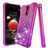 LG Aristo 2 Case,LG Aristo 3/2 Plus/Aristo 3+/Rebel 4 LTE/Fortune 2/Phoenix 4/Tribute Dynasty/Zone 4/K8/K8+ Plus/Tribute Empire Case,Bling Glitter Phone Cover for Girls Women,Pink/Purple