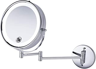8.5 inch LED Double Sided Swivel Wall Mount Vanity Mirror - 5X Magnification, 360°Rotating Extendable Arm Makeup Mirror