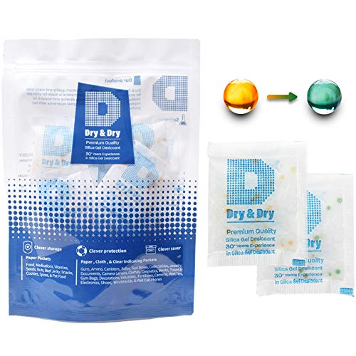 Dry & Dry 10 Gram [500 Packets] Orange Indicating Premium Pure & Safe Silica Gel Packets Desiccant Dehumidifier - Food Safe Silica Gel Packs, Silica Gel, Desiccant Packs