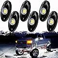 PSEQT 6 Pods LED Rock Lights, Waterproof LED Neon Underglow Light for Car Truck ATV UTV SUV Offroad Boat Underbody Glow Trail Rig Lamp (White)…