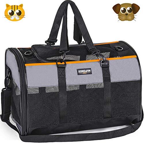 Songwin Hundetasche, Hundebox, faltbar Hundetransportbox Auto Transporttasche für Haustiere,Katzenbox,Grau (Katzentragetasche)