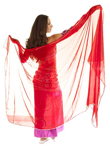 The Turkish Emporium Voile RECTANGLE danse orientale DANSE DU VENTRE ROUGE ARGENT