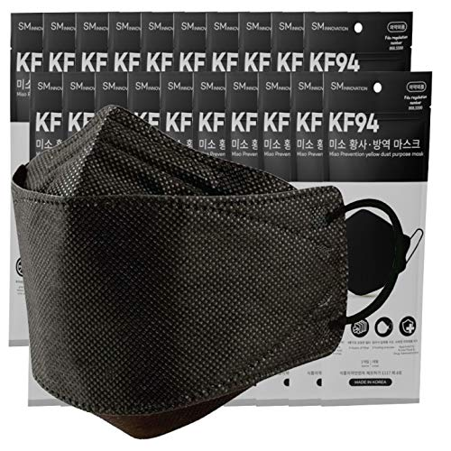 20 Pack Black, Made in Korea KF94 Premium Face Protective Mask 4 Layer Filter Protection, Light Weight, Room to Breathe, Nose Bridge Adjustable Clip, Packed Individually