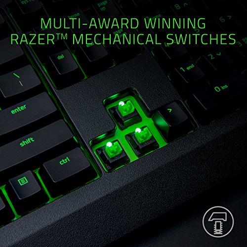 Razer BlackWidow Ultimate: Esports Gaming-Tastatur – Staub- und spritzwassergeschützt – individuell beleuchtete Tasten – Razer Green mechanische Schalter (taktile und klickbare Tasten)