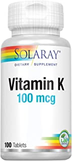 Solaray Vitamin K-1 100mcg | Healthy Bone Structure, Blood Clotting, Protein Synthesis Support | Non-GMO, Vegan & Lab Veri...