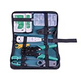SIBO RJ45 RJ11ネットワークケーブルテスターツールセット 多機能LANケーブル 自作工具 10点セットマスターとリモートネットワークケーブルテスター電話ケーブルテスターツールキット SB-NS468