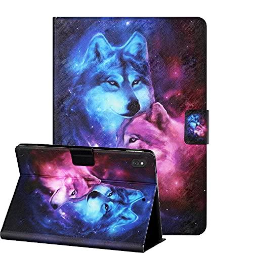 KW-LINK Hülle für Lenovo Tab M10/M10 HD (TB-X505F / TB-X605F) / P10 (TB-X705F) 10,1 Zoll, Smart Hülle, Premium Leder Folio Hülle, Flip Cover Book Style, Wolf
