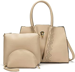 3 Piece Women's Rivets Handbag Versatile Multi Piece Set (Color : Apricot)