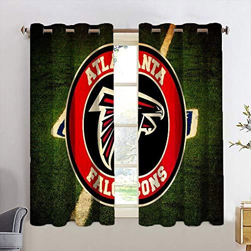 Waynekeysl American football team Atla-nta Blackout Curtains Atla-nta Blackout Curtains for Bedroom Room Darkening Wide Curtains for Living Room Bedroom Home 2 Panels W21 x L54 Inch