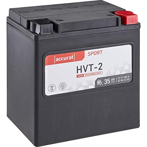 Accurat Motorrad-Batterie HVT-2 35Ah 12V 450A AGM SLA Starterbatterie wartungsfrei (YTX30L-BS)